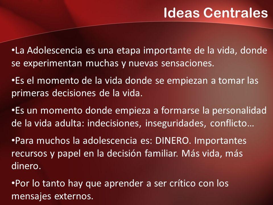 Ideas Centrales La Adolescencia es una etapa importante de la vida, donde se experimentan muchas y nuevas sensaciones.