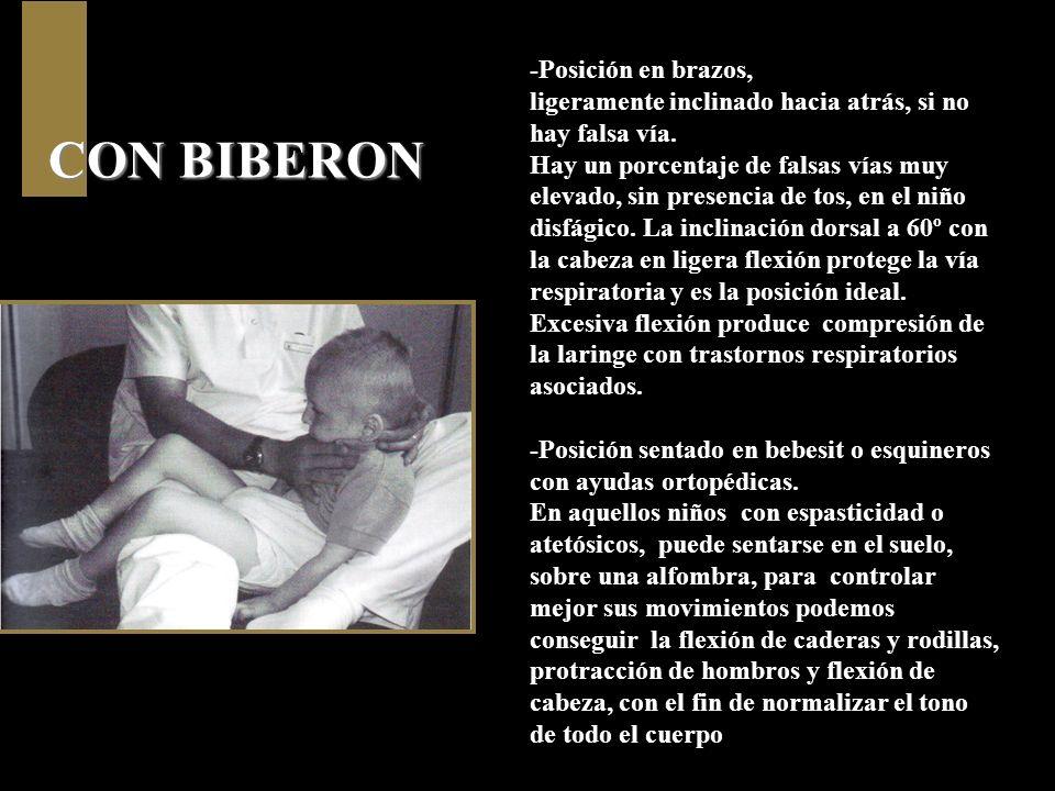 CON BIBERON -Posición en brazos,