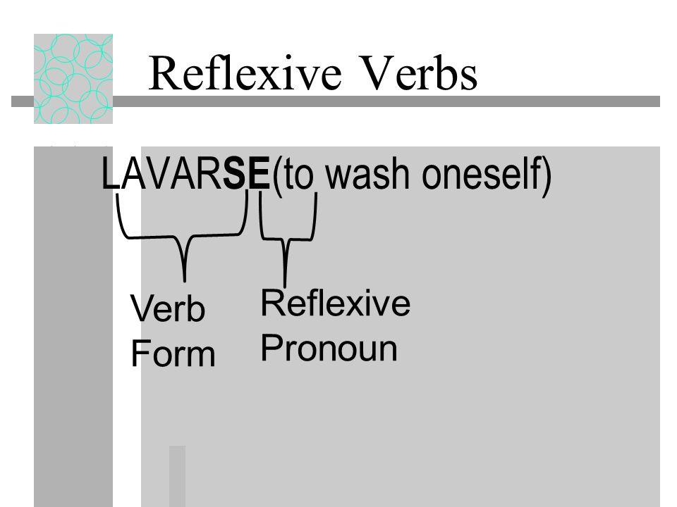 Reflexive Verbs LAVARSE(to wash oneself) Reflexive Pronoun Verb Form