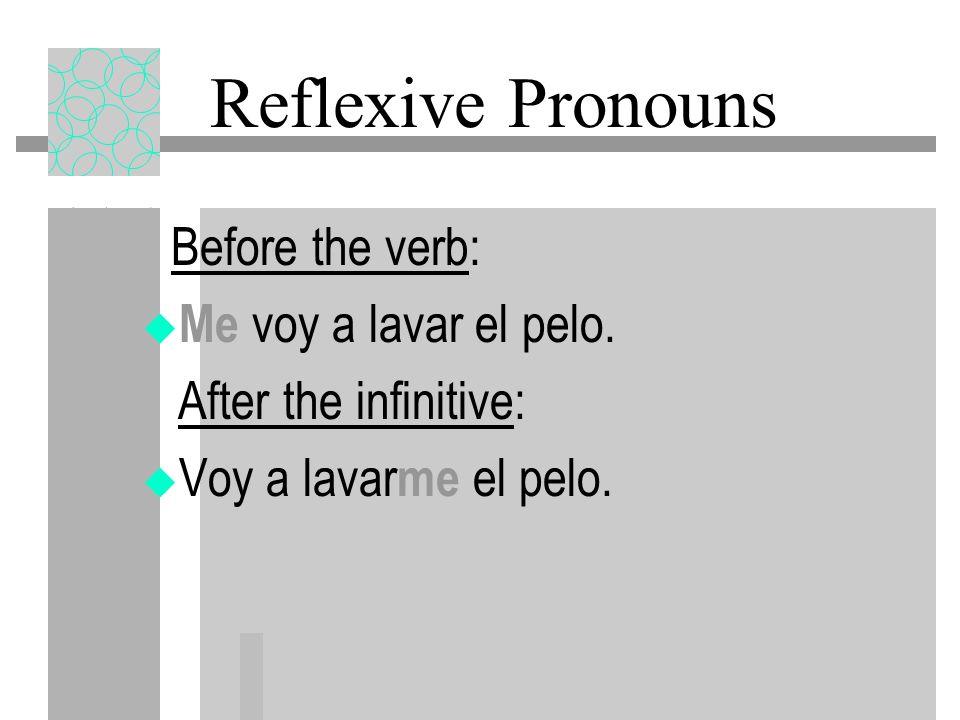 Reflexive Pronouns Me voy a lavar el pelo. After the infinitive: