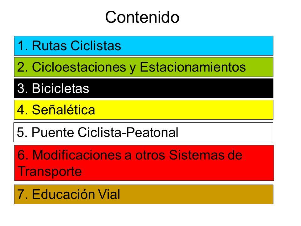 Contenido 1. Rutas Ciclistas 2. Cicloestaciones y Estacionamientos