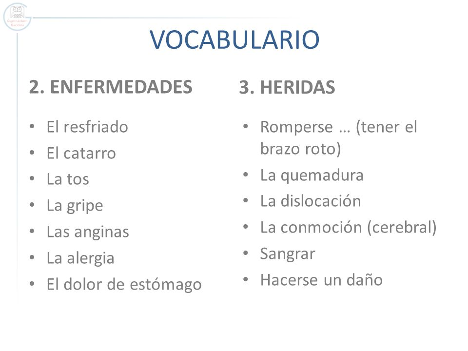 VOCABULARIO 3. HERIDAS 2. ENFERMEDADES El resfriado El catarro La tos