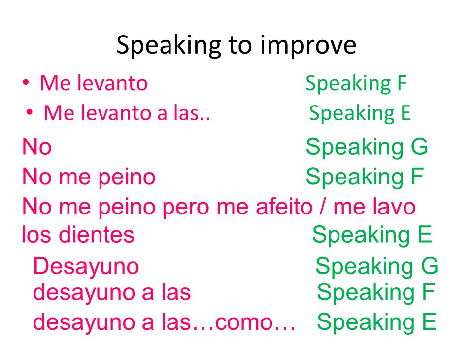 Speaking to improve Me levanto Speaking F