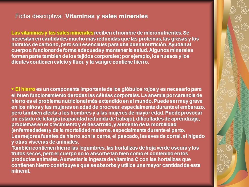 Ficha descriptiva: Vitaminas y sales minerales