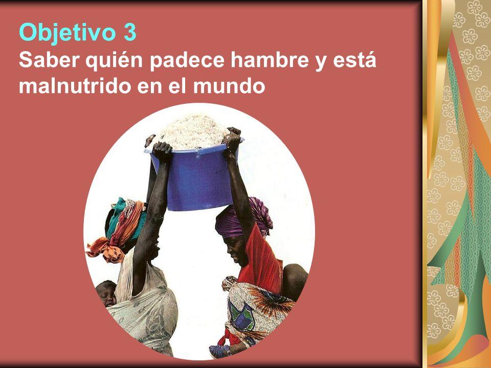 Objetivo 3 Saber quién padece hambre y está malnutrido en el mundo