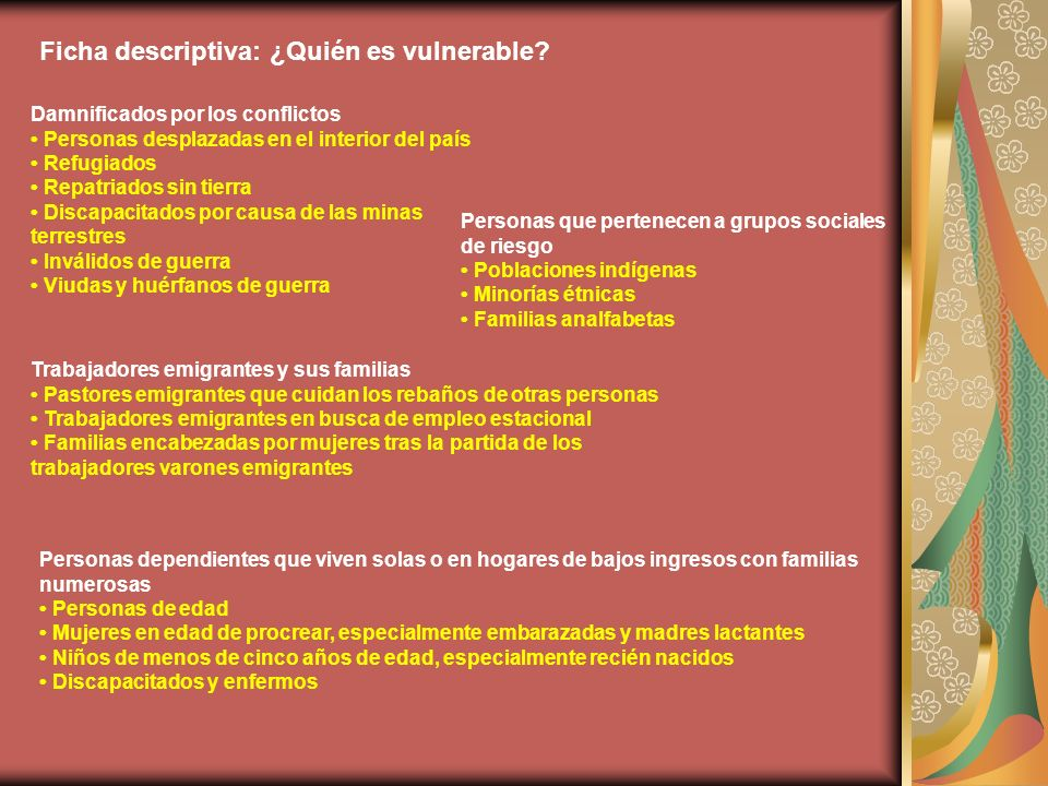 Ficha descriptiva: ¿Quién es vulnerable