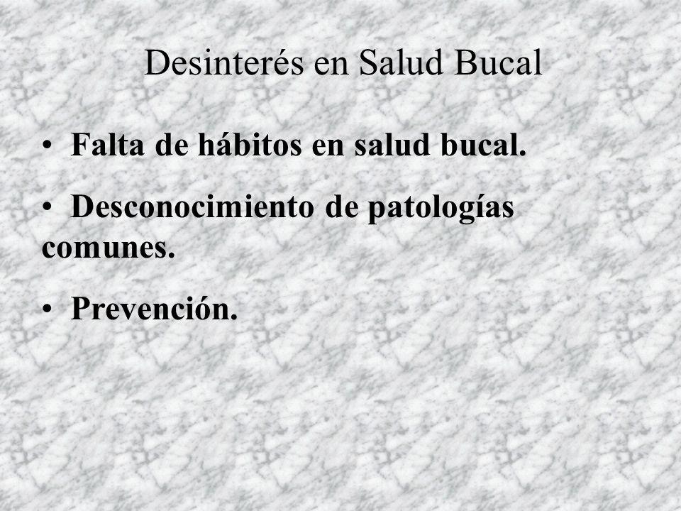Desinterés en Salud Bucal