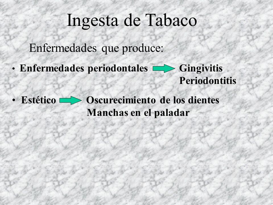 Ingesta de Tabaco Enfermedades que produce:
