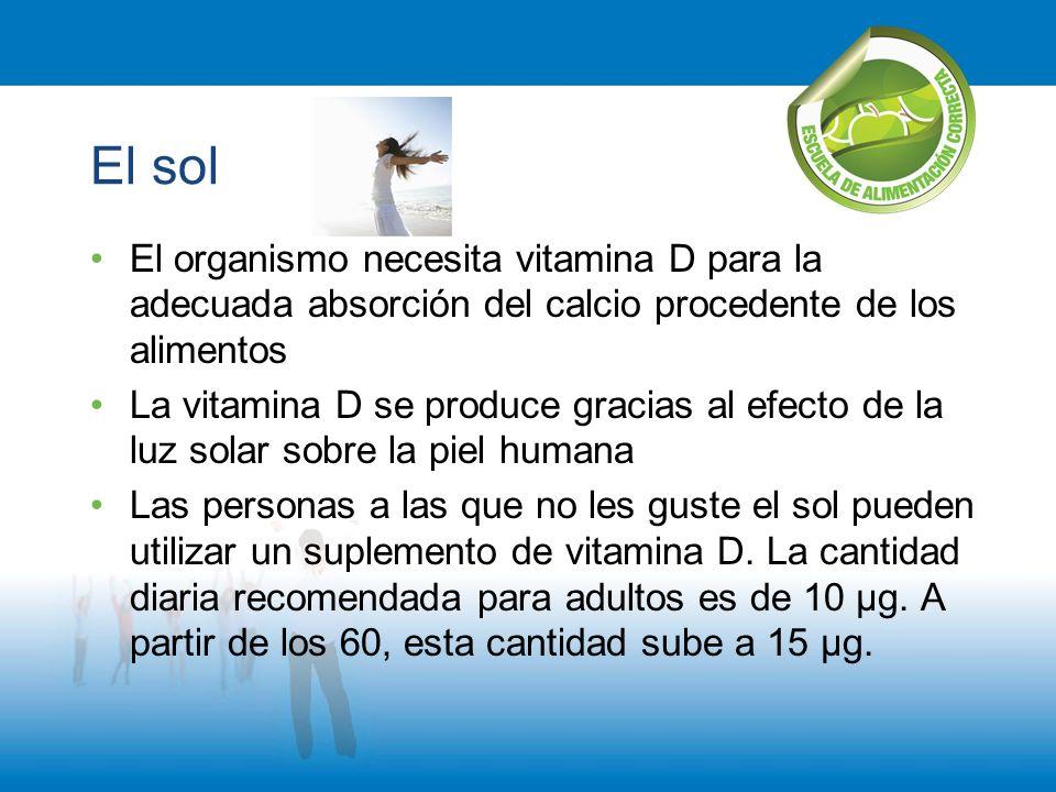 El sol El organismo necesita vitamina D para la adecuada absorción del calcio procedente de los alimentos.