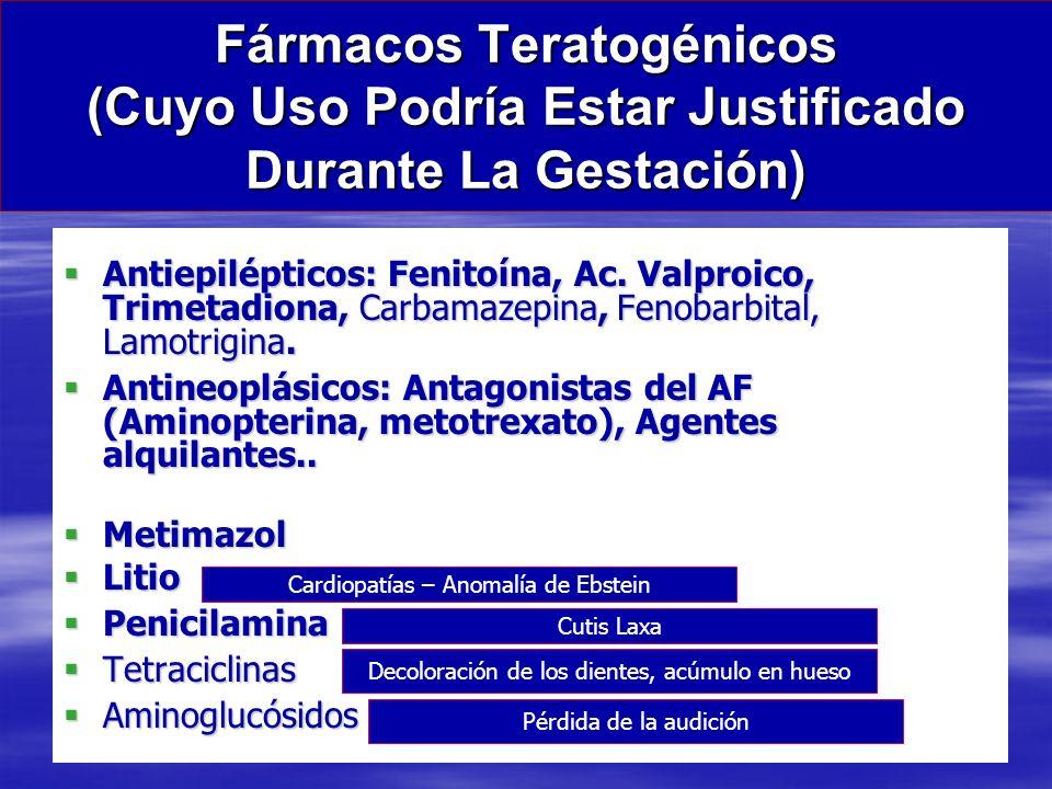 Fármacos Teratogénicos (Cuyo Uso Podría Estar Justificado Durante La Gestación)