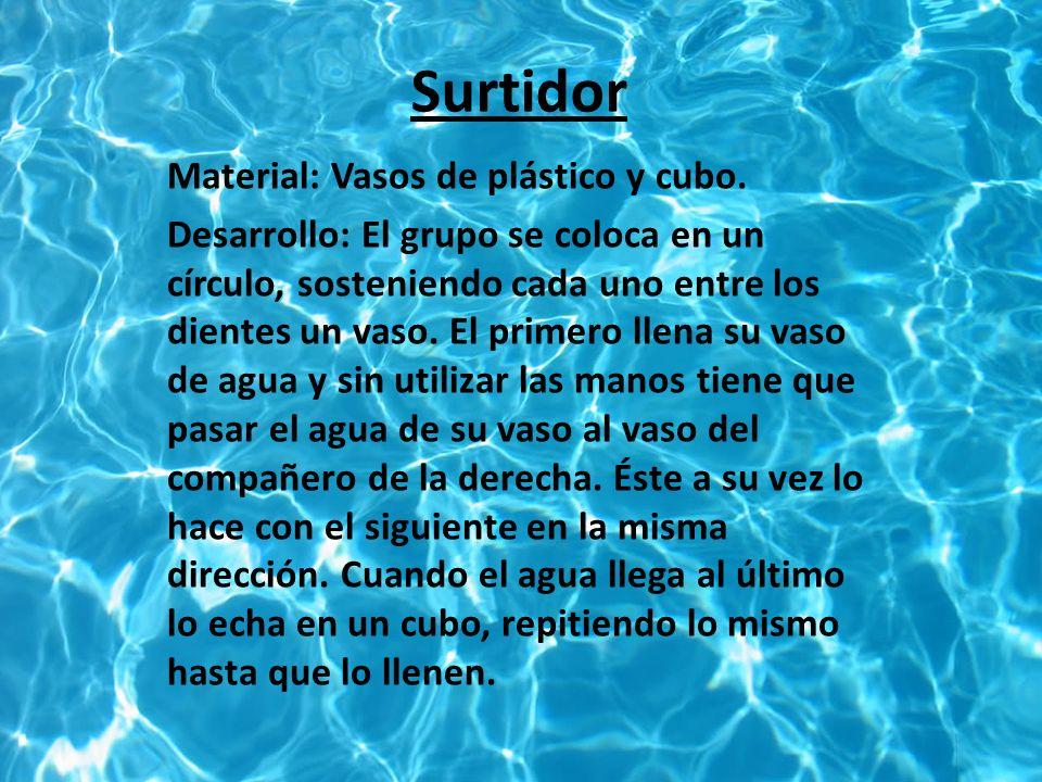 Surtidor Material: Vasos de plástico y cubo.