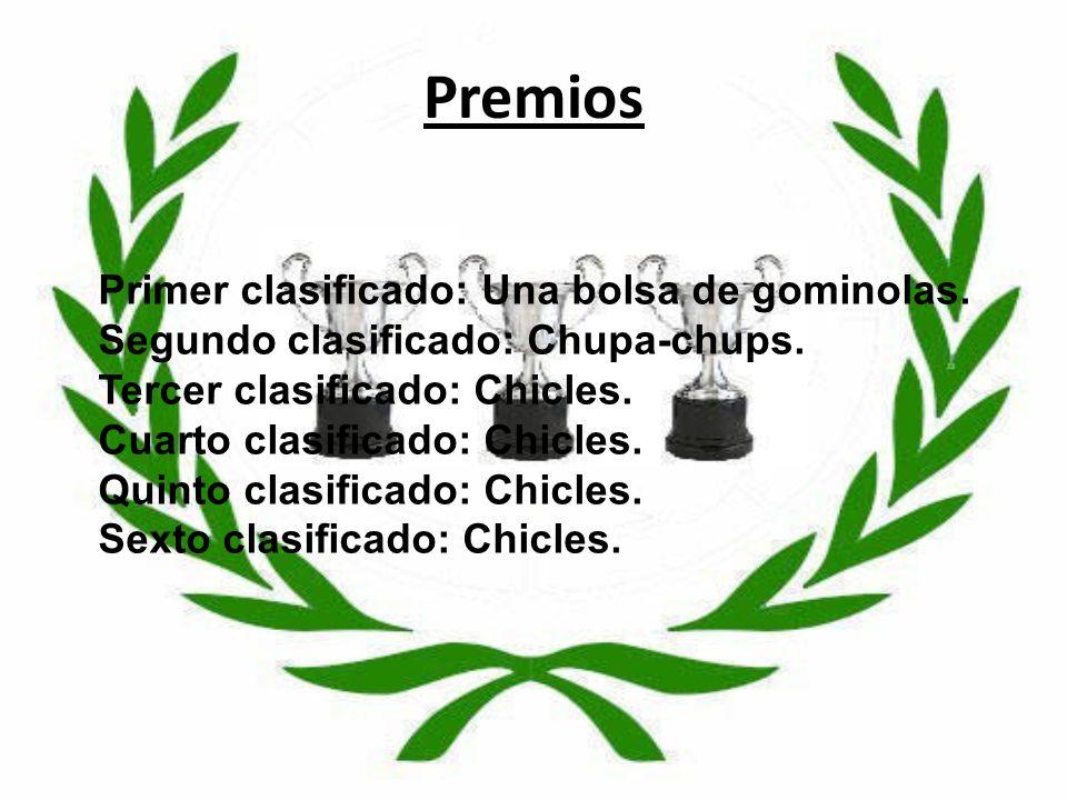 Premios Primer clasificado: Una bolsa de gominolas.