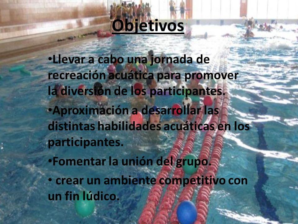 Objetivos Llevar a cabo una jornada de recreación acuática para promover la diversión de los participantes.