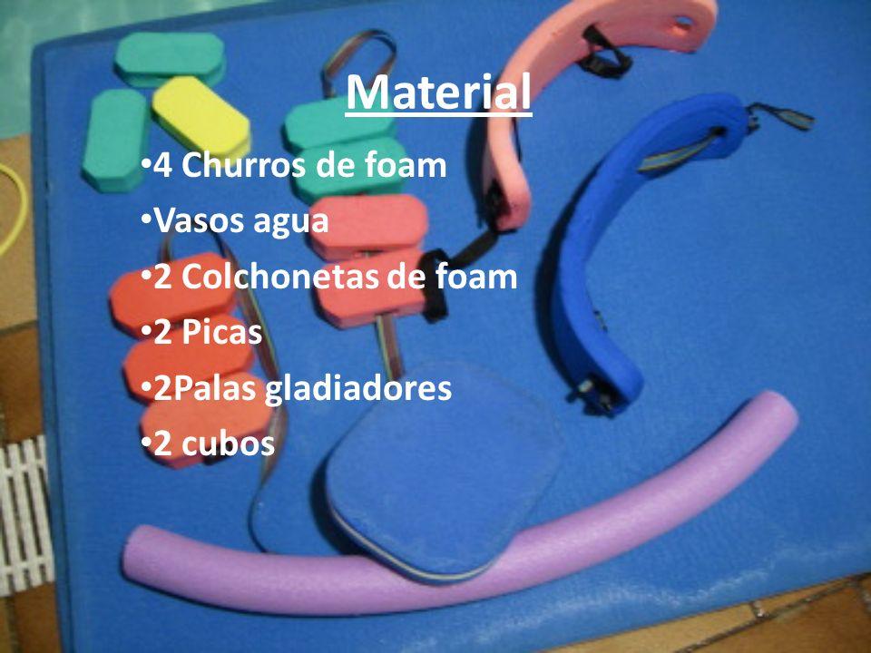 Material 4 Churros de foam Vasos agua 2 Colchonetas de foam 2 Picas