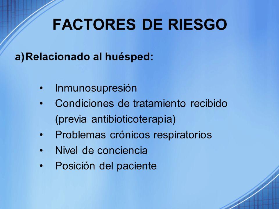FACTORES DE RIESGO Relacionado al huésped: Inmunosupresión