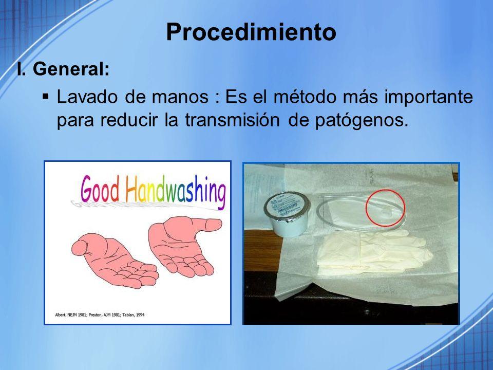 Procedimiento I. General: