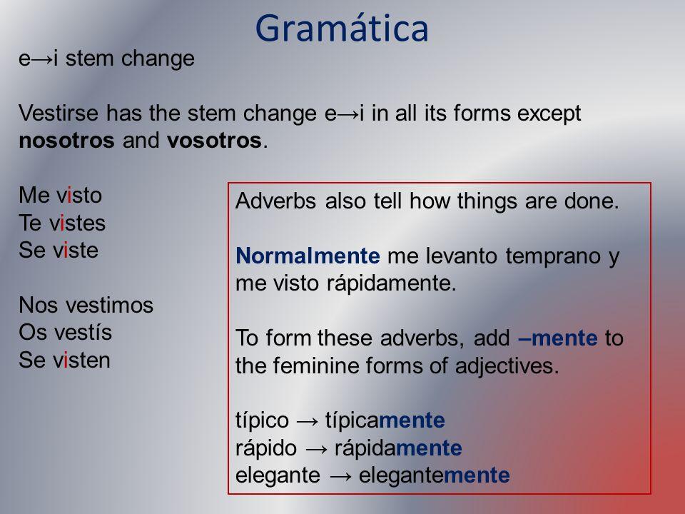 Gramática e→i stem change