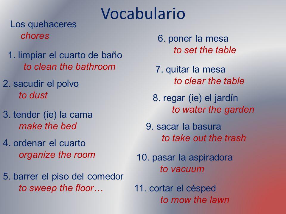 Vocabulario Los quehaceres chores 6. poner la mesa to set the table