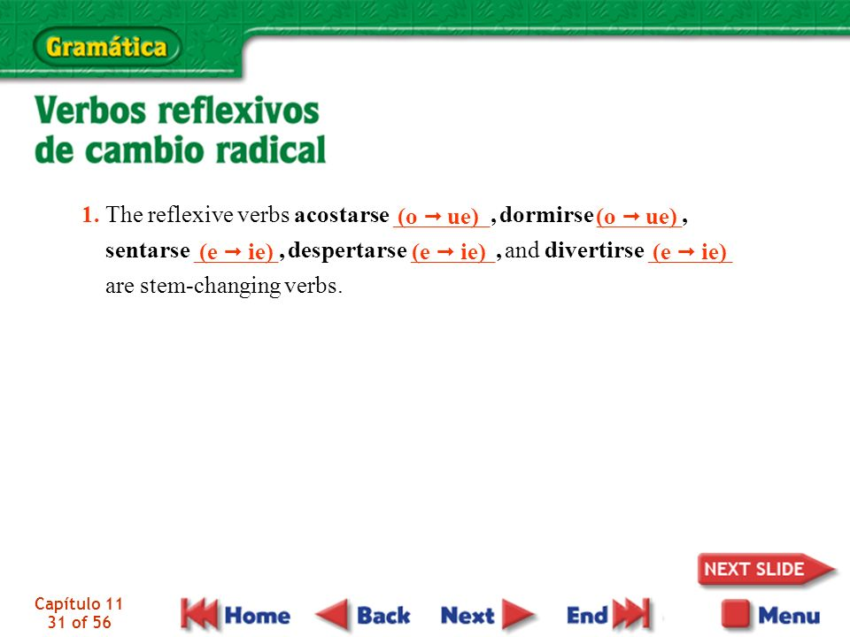 1. The reflexive verbs acostarse ________, dormirse _______,
