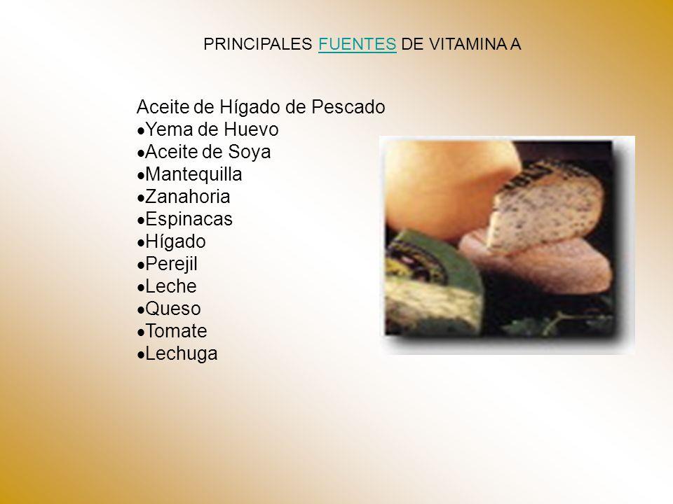PRINCIPALES FUENTES DE VITAMINA A