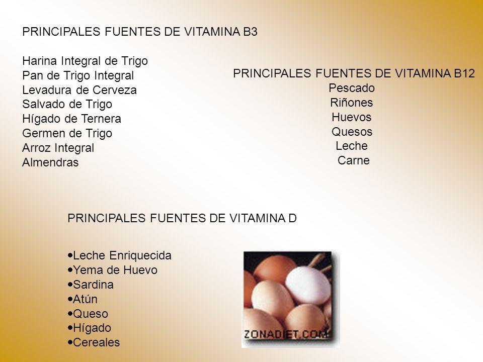 PRINCIPALES FUENTES DE VITAMINA B12