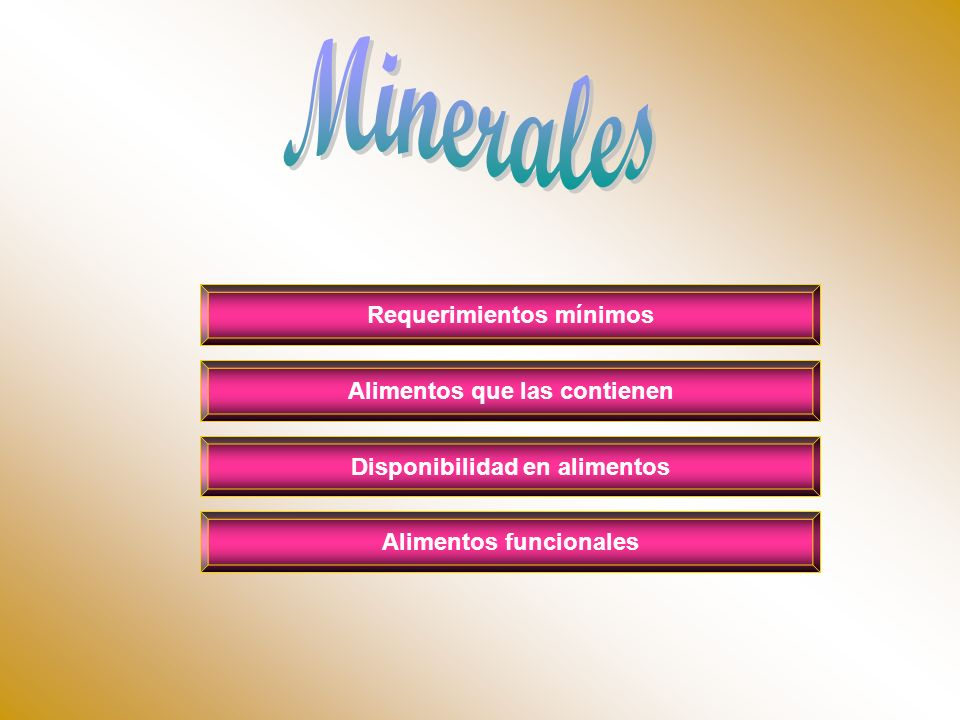 Minerales Requerimientos mínimos Alimentos que las contienen