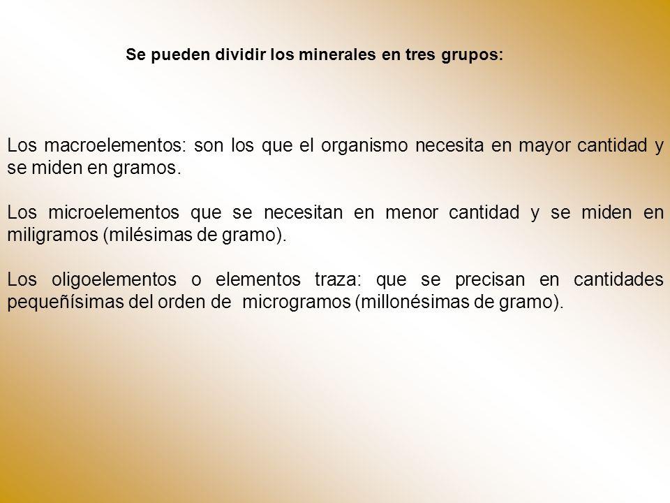 Se pueden dividir los minerales en tres grupos: