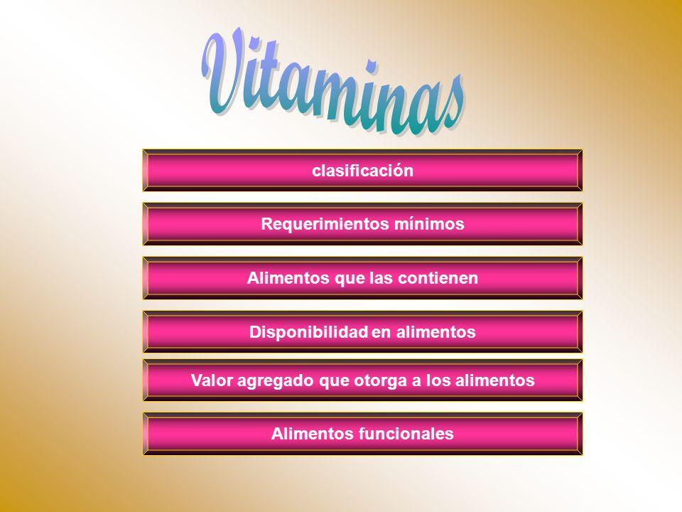 Vitaminas clasificación Requerimientos mínimos