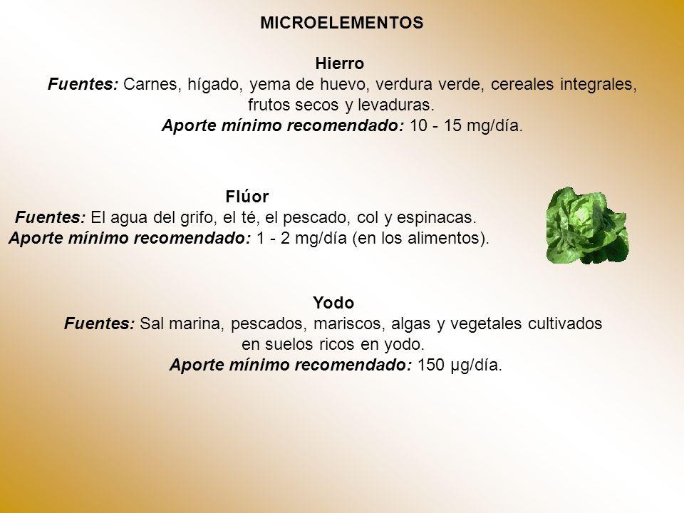 frutos secos y levaduras. Aporte mínimo recomendado: 10 - 15 mg/día.