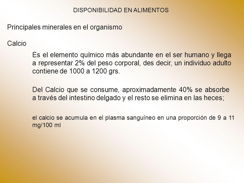 Principales minerales en el organismo Calcio