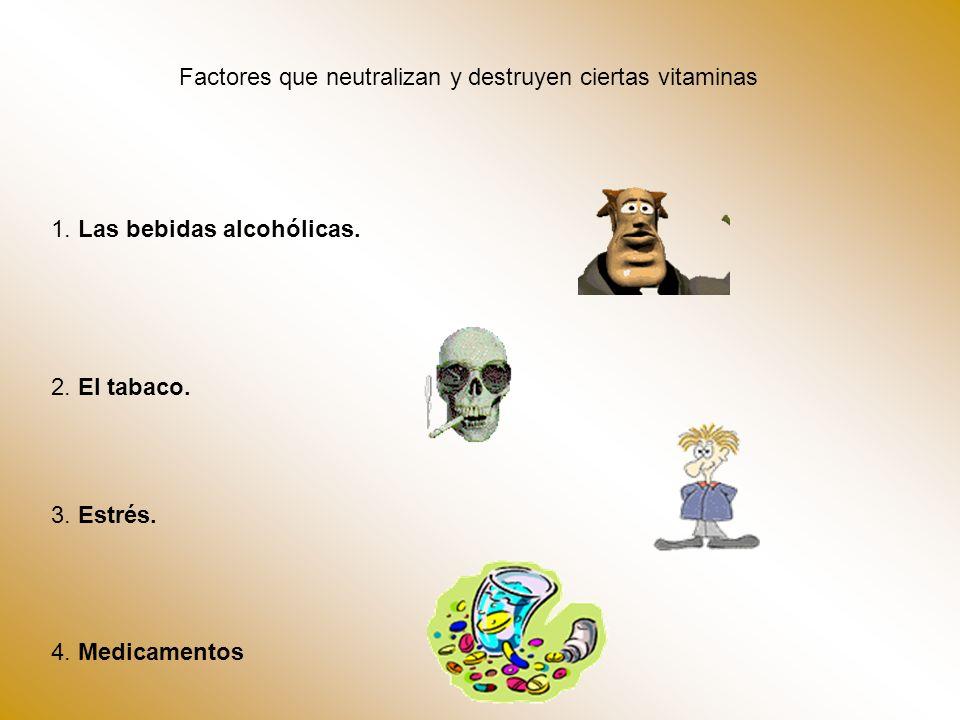 Factores que neutralizan y destruyen ciertas vitaminas