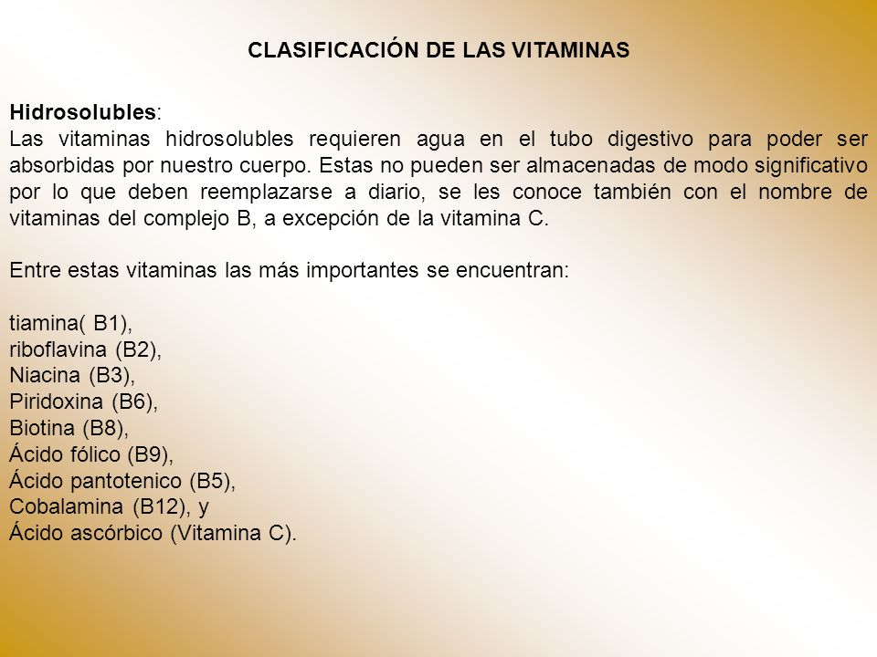 CLASIFICACIÓN DE LAS VITAMINAS