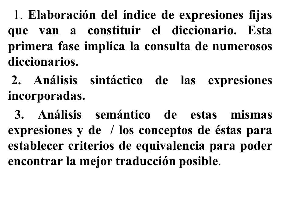 1. Elaboración del índice de expresiones fijas que van a constituir el diccionario. Esta primera fase implica la consulta de numerosos diccionarios.
