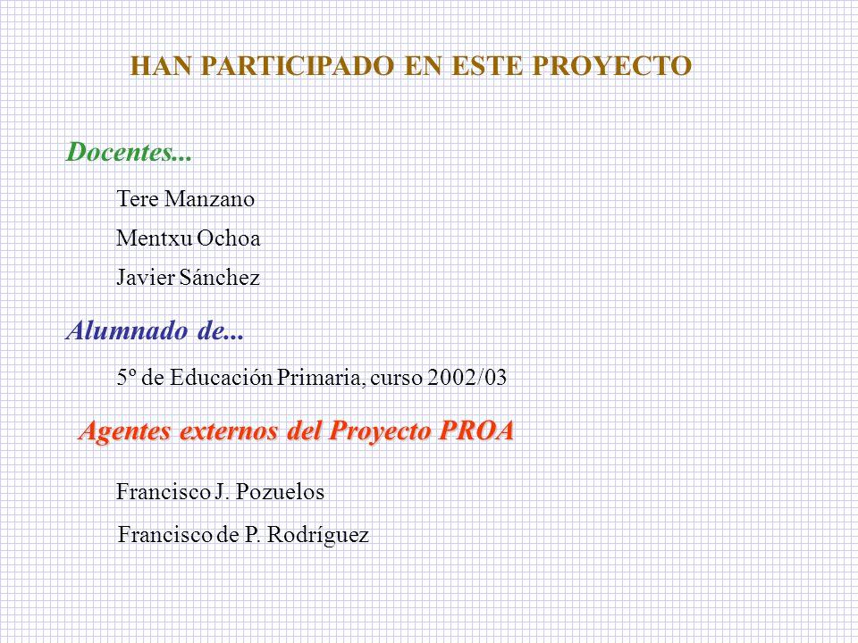 HAN PARTICIPADO EN ESTE PROYECTO Agentes externos del Proyecto PROA
