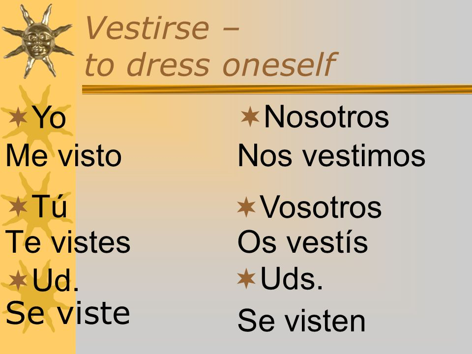 Vestirse – to dress oneself