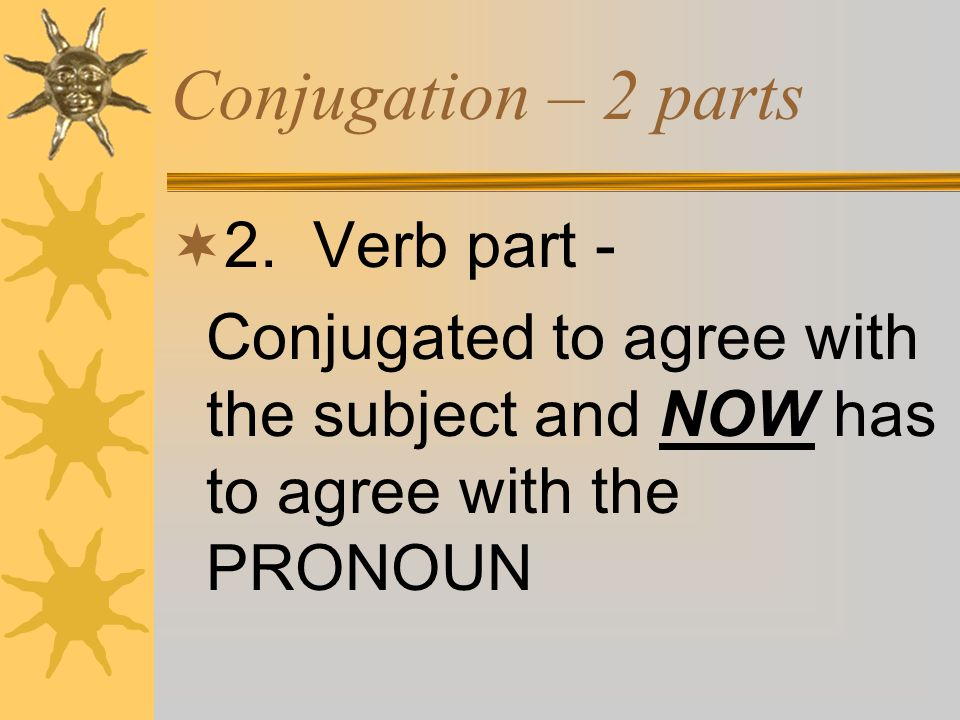 Conjugation – 2 parts 2. Verb part -