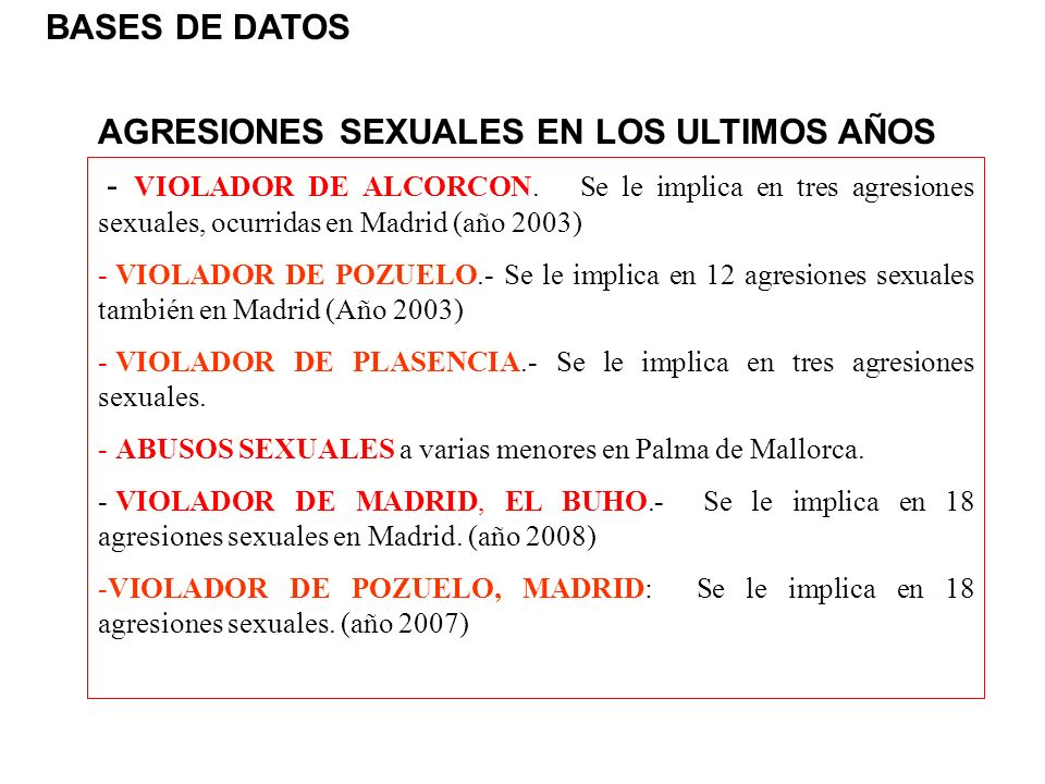 AGRESIONES SEXUALES EN LOS ULTIMOS AÑOS