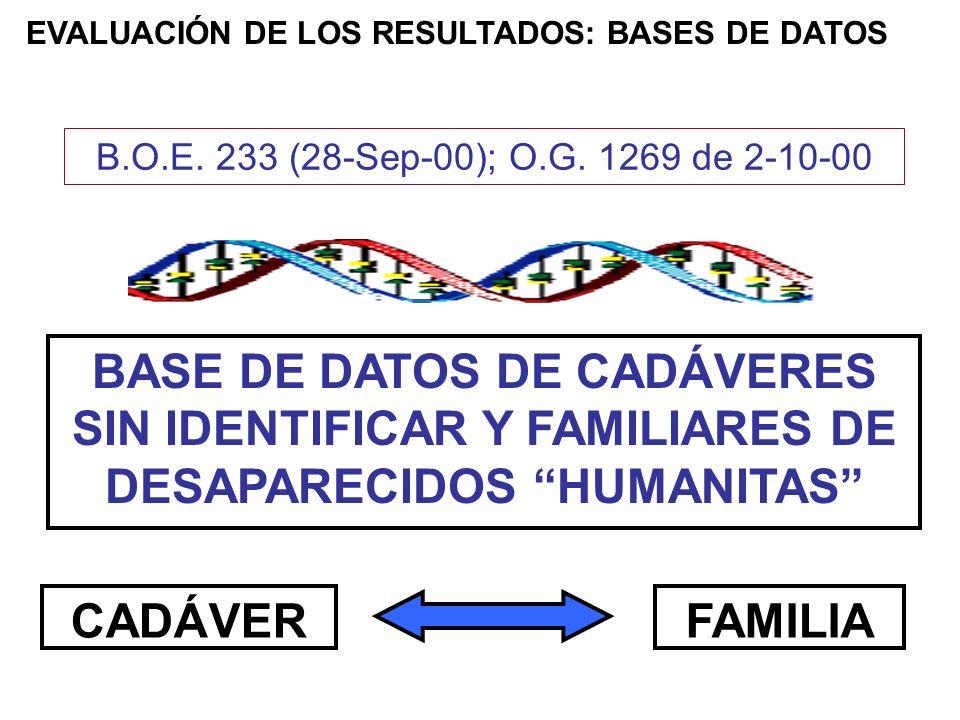 EVALUACIÓN DE LOS RESULTADOS: BASES DE DATOS