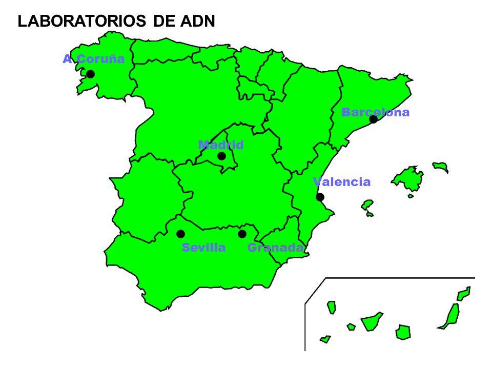 LABORATORIOS DE ADN A Coruña Barcelona Madrid Valencia Sevilla Granada