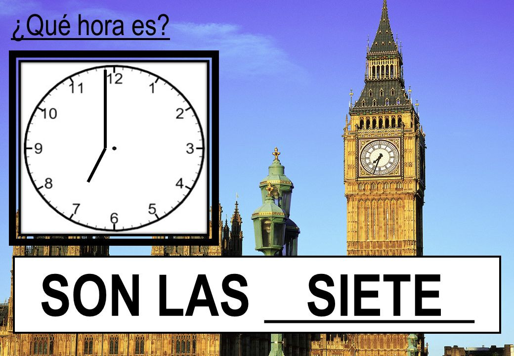 ¿Qué hora es SON LAS ________ SIETE