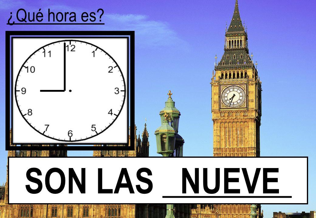 ¿Qué hora es SON LAS ________ NUEVE
