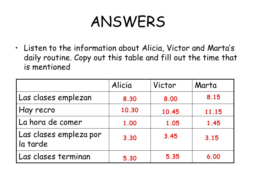 ANSWERSListen to the information about Alicia, Victor and Marta's daily routine. Copy out this table and fill out the time that is mentioned.