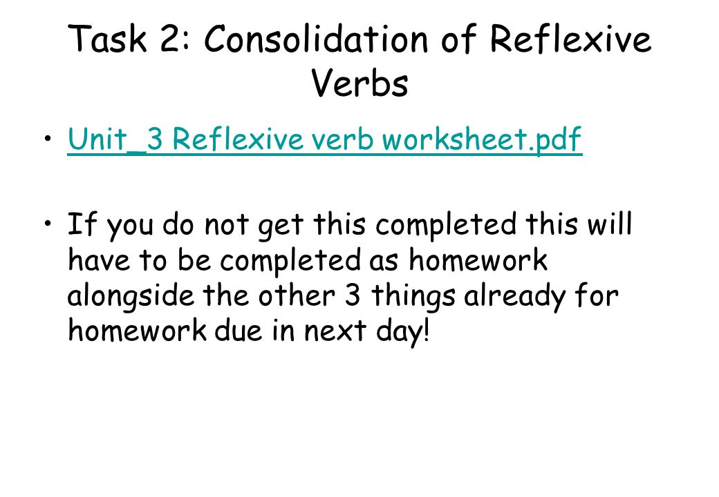 Task 2: Consolidation of Reflexive Verbs