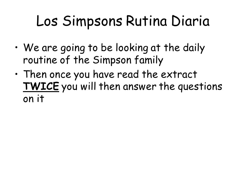 Los Simpsons Rutina Diaria