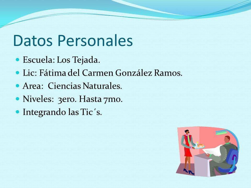 Datos Personales Escuela: Los Tejada.