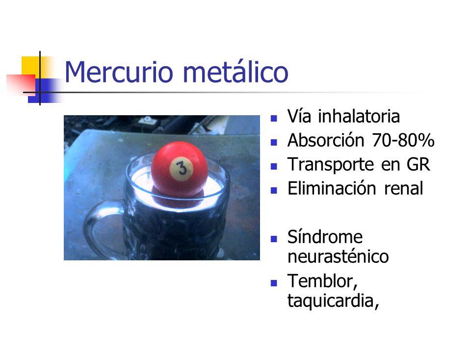 Mercurio metálico Vía inhalatoria Absorción 70-80% Transporte en GR