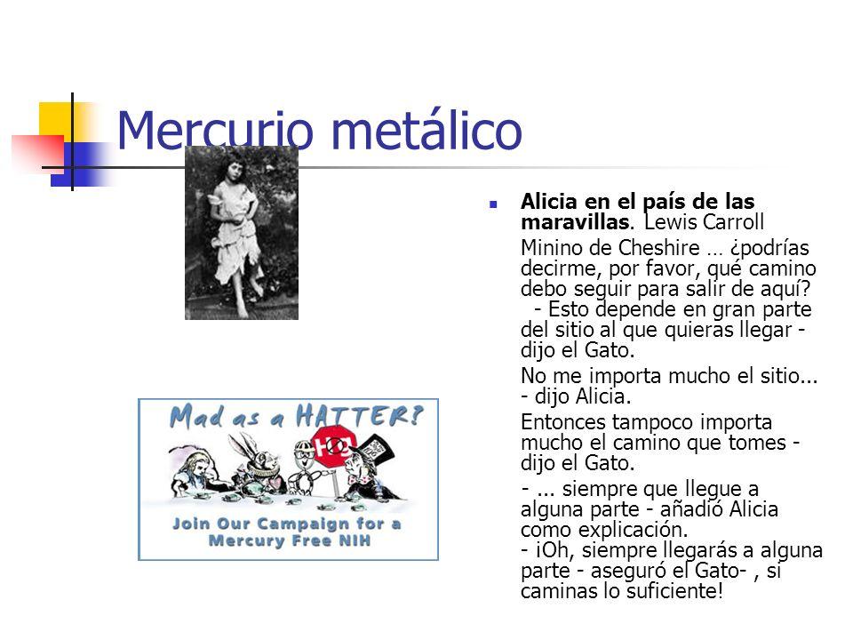 Mercurio metálico Alicia en el país de las maravillas. Lewis Carroll