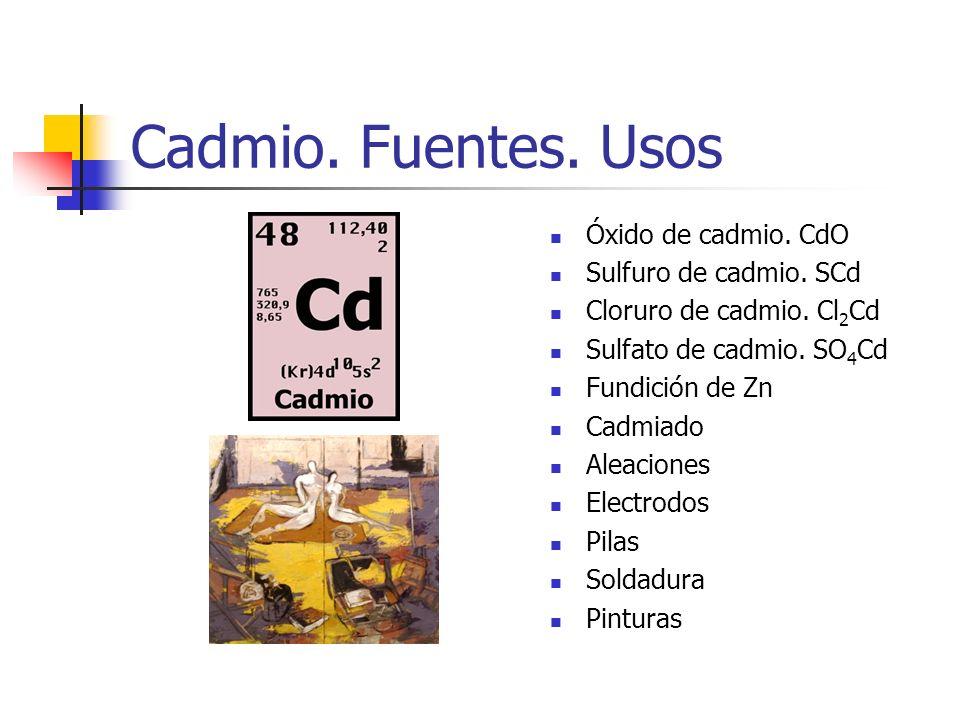 Cadmio. Fuentes. Usos Óxido de cadmio. CdO Sulfuro de cadmio. SCd