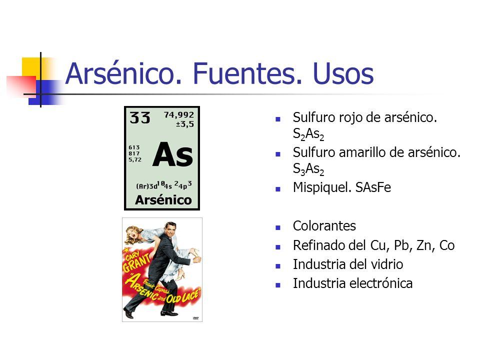 Arsénico. Fuentes. Usos Sulfuro rojo de arsénico. S2As2