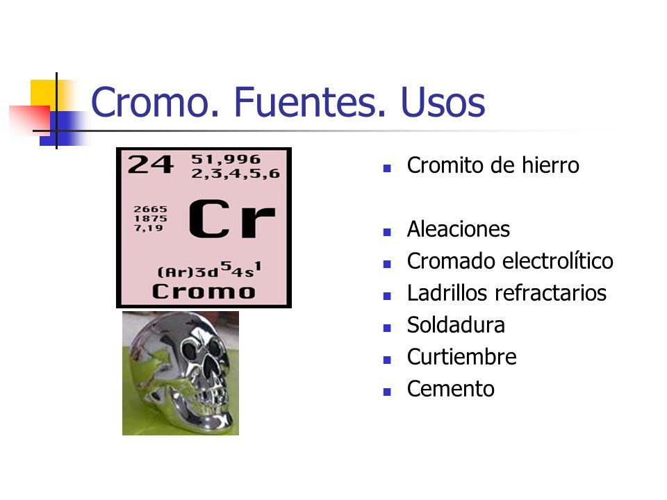 Cromo. Fuentes. Usos Cromito de hierro Aleaciones
